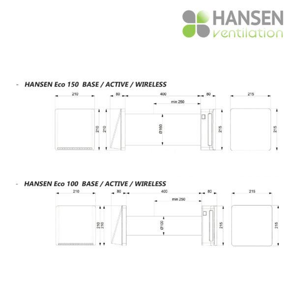HANSEN ECO Active 100 rekuperator lokalno prezračevanje tersus dimenzije