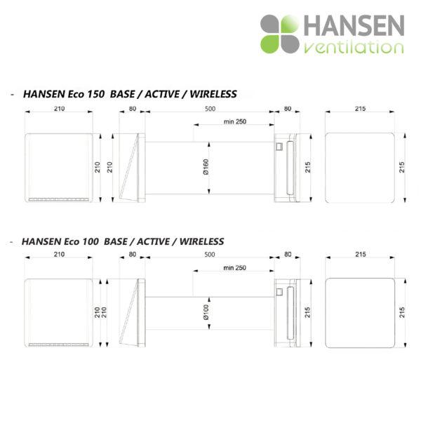 HANSEN ECO Wireless 150  rekuperator lokalno prezračevanje dimenzija tersus