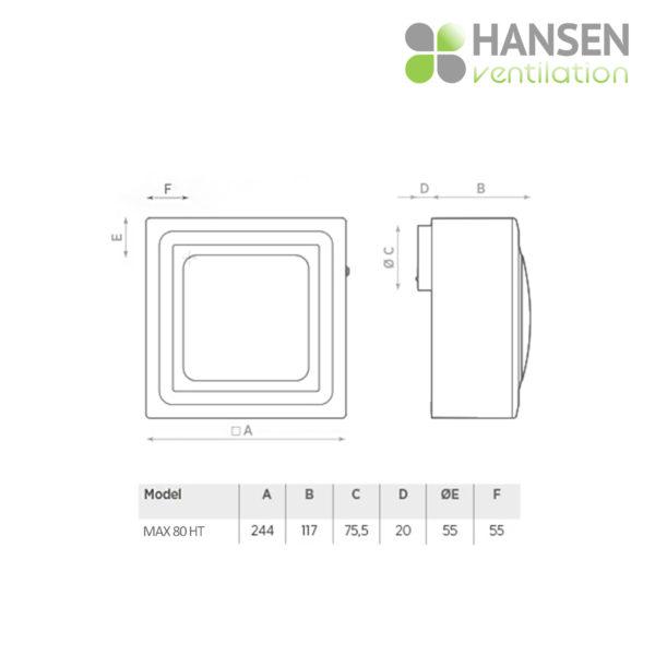 Ventilator HANSEN Max 80 HT dimenzije